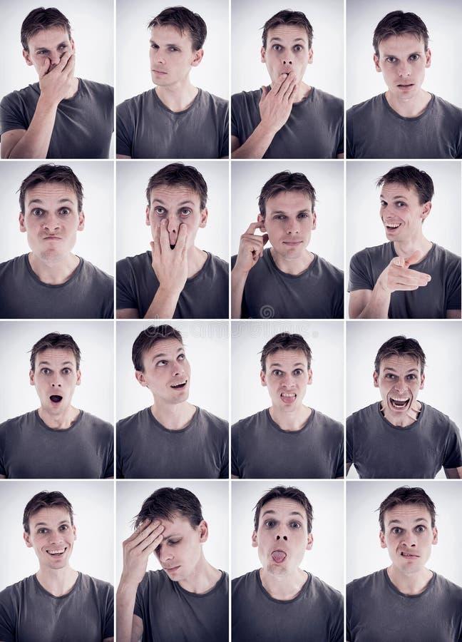 Homem que mostra emoções ou expressões diferentes fotos de stock royalty free