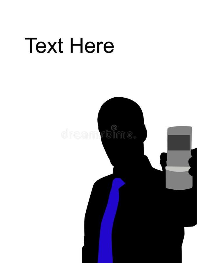 Homem que mostra o telefone de pilha ilustração royalty free