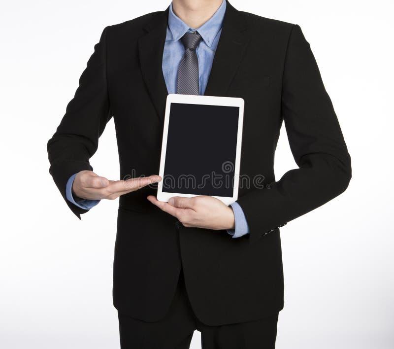 Homem que mostra a tabuleta fotografia de stock royalty free