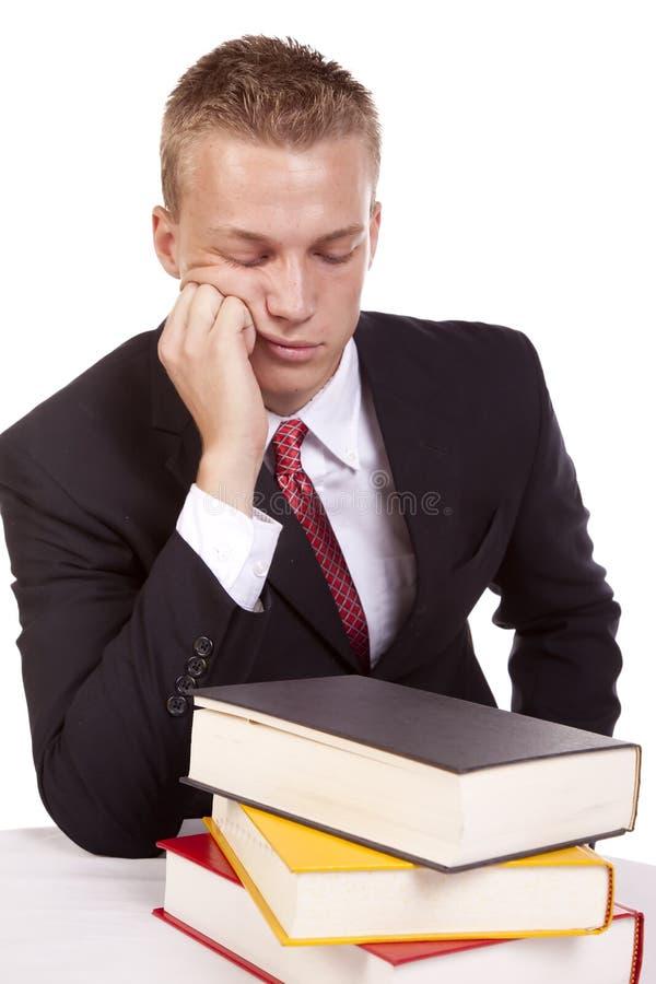 Homem que não quer estudar imagens de stock royalty free