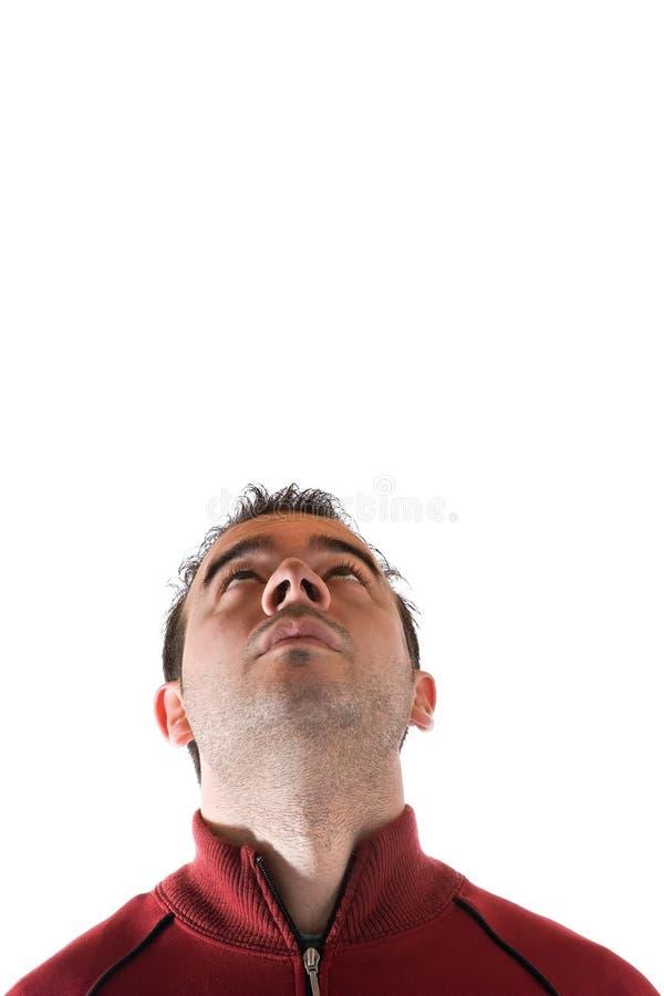 Homem que olha acima acima foto de stock