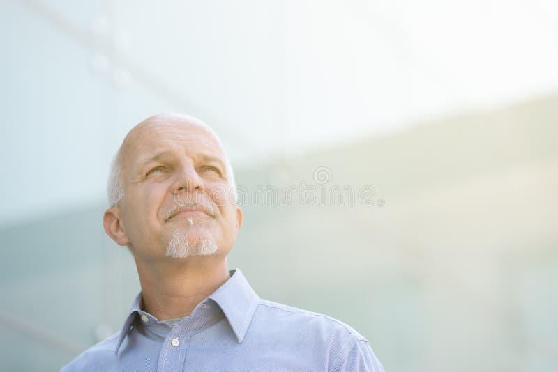 Homem que olha acima e que observa algo imagens de stock