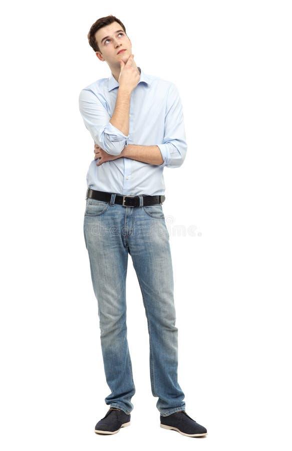 Homem Que Olha Acima E Que Pensa Fotografia de Stock Royalty Free