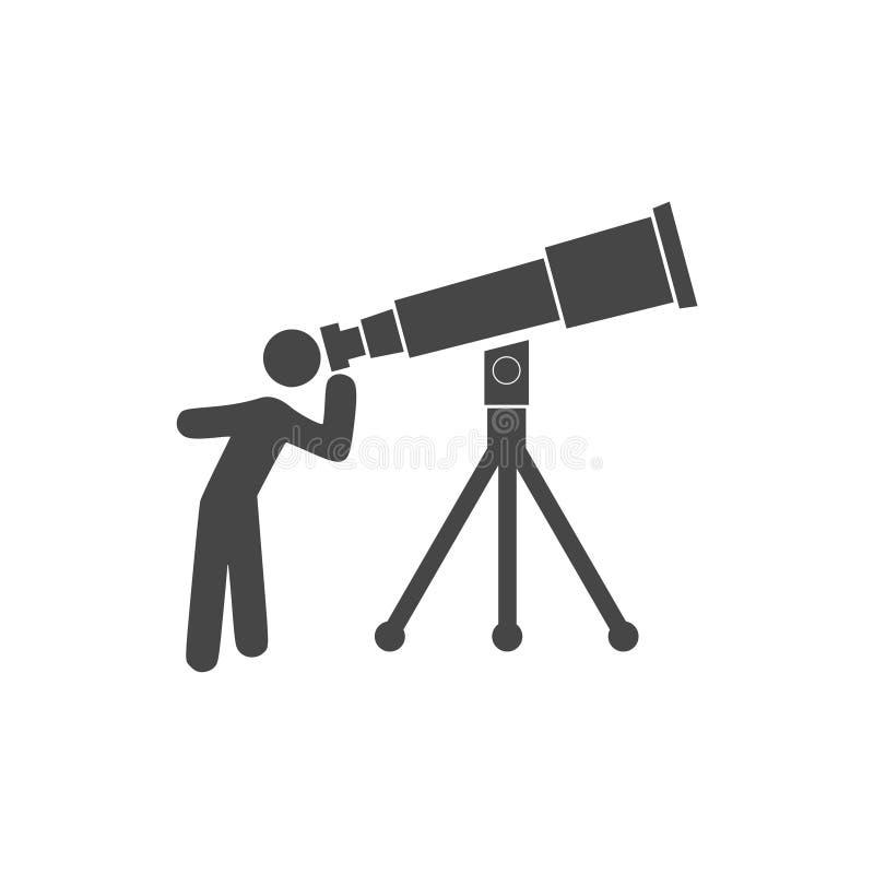 Homem que olha através do ícone enorme do telescópio ilustração do vetor