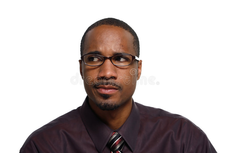 Homem que olha confundido - horizontal foto de stock