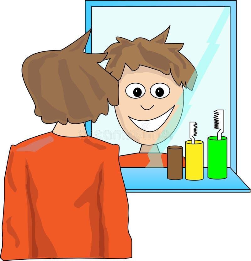 Homem que olha no espelho ilustração do vetor
