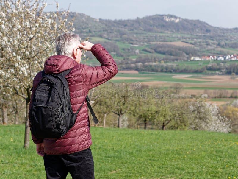 Homem que olha a paisagem distante foto de stock royalty free