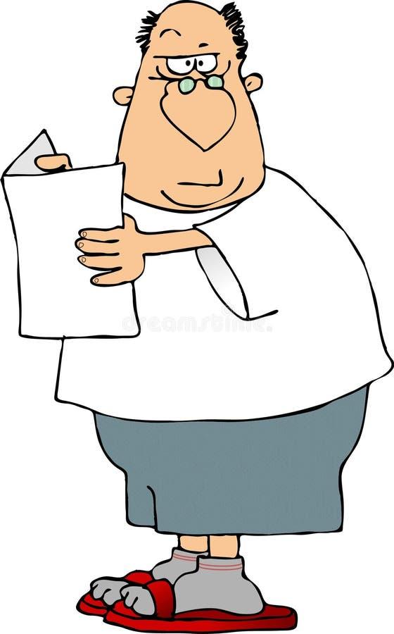 Homem que olha um papel ilustração do vetor