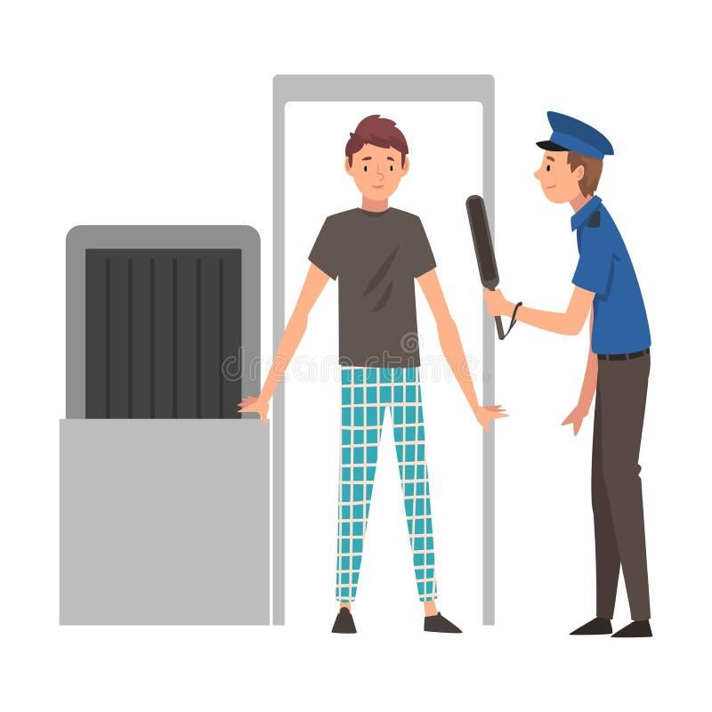 Homem que passa através do varredor da segurança para verificar na ilustração do vetor do aeroporto ilustração do vetor