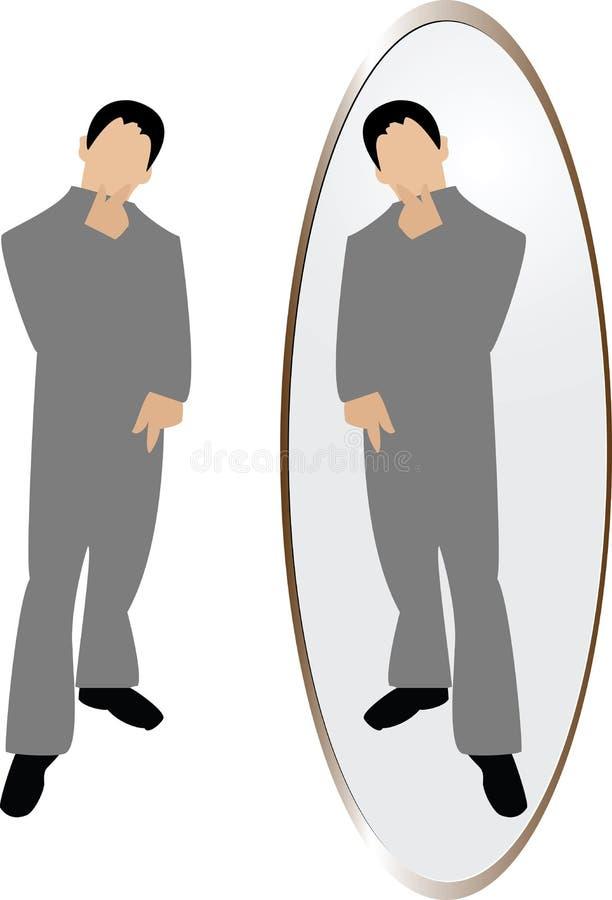 Homem que pensa no espelho ilustração do vetor