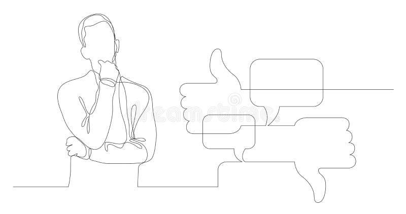 Homem que pensa sobre a discussão em meios sociais - a lápis desenho contínuo ilustração royalty free