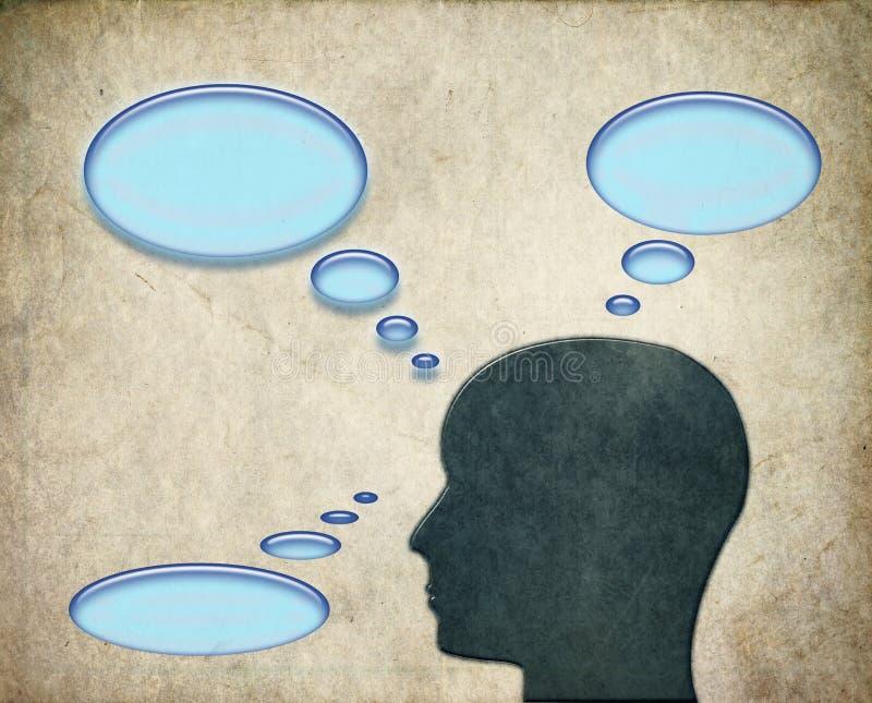 Homem que pensa sobre pensamentos com bolhas ilustração do vetor