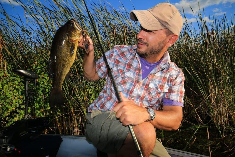 Homem que pesca o baixo Largemouth da grande boca fotos de stock