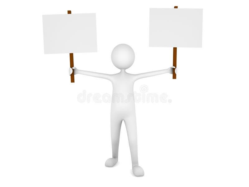 Homem que prende duas placas em branco do sinal ilustração do vetor