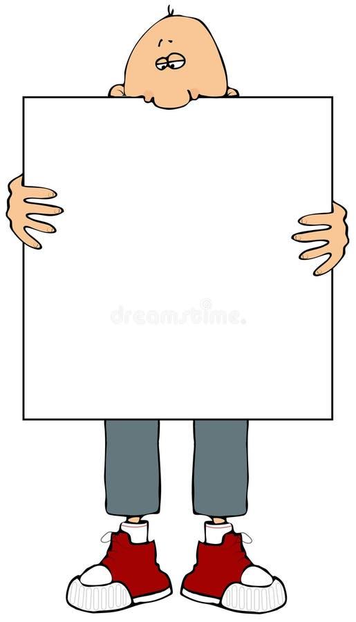 Homem que prende um sinal ilustração do vetor