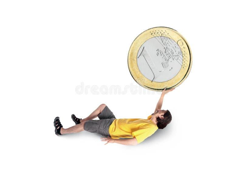 Homem que prende uma moeda grande imagens de stock royalty free