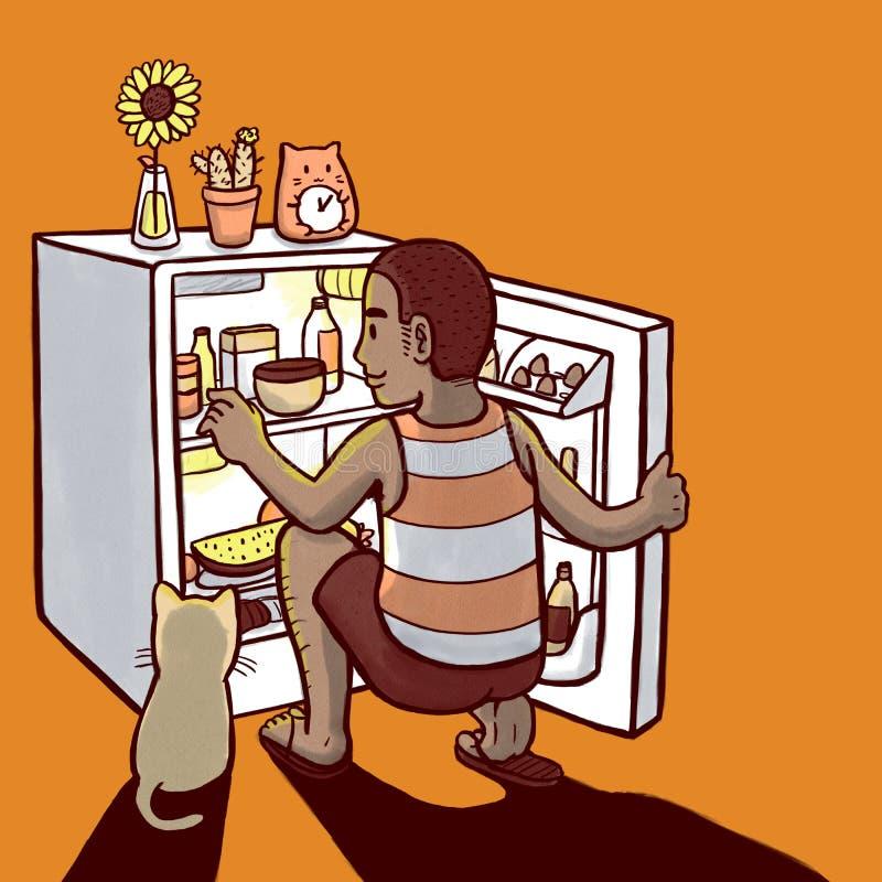 Homem que procura pelo alimento no mini refrigerador ilustração do vetor