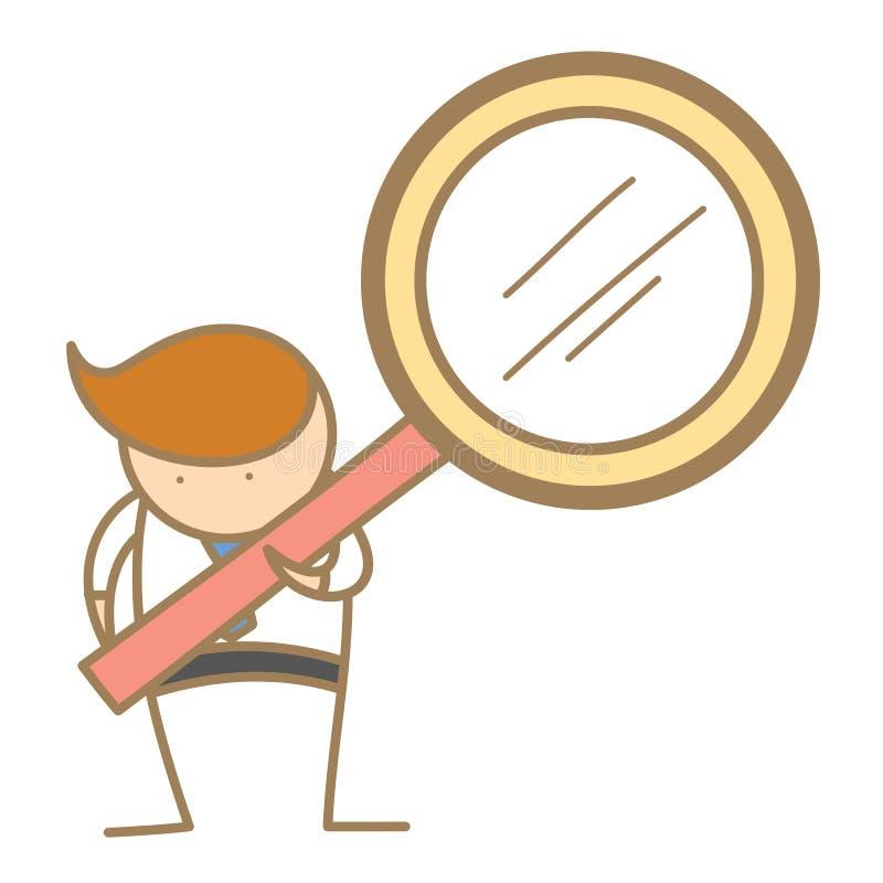 Homem que procurara usando a lente de aumento ilustração royalty free