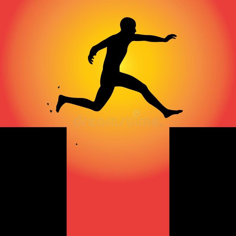 Homem que pula transversalmente confiàvel ilustração do vetor
