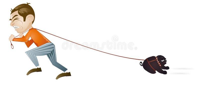 Homem que puxa o cão relutante ilustração stock
