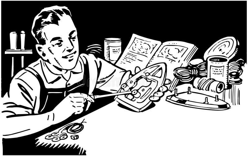 Homem que repara dispositivos ilustração do vetor