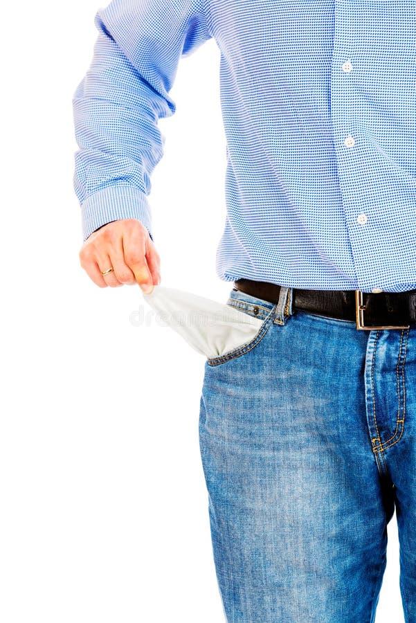 Homem que retira bolsos vazios imagens de stock royalty free