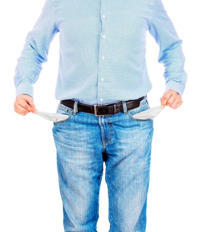 Homem que retira bolsos vazios fotos de stock royalty free