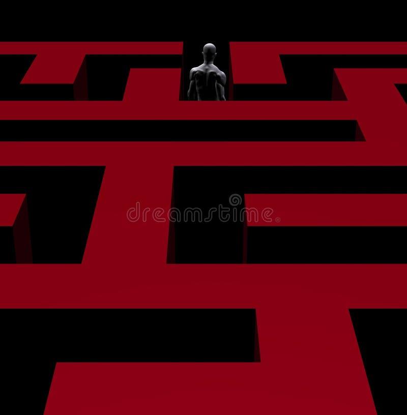 Homem que retira a ilustração do labirinto 3d ilustração do vetor