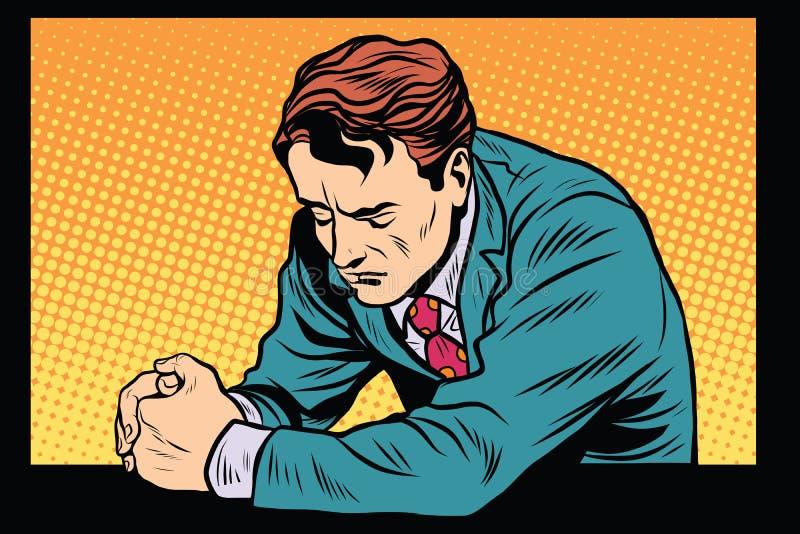 Homem que reza, emoções tristes da oração ilustração do vetor