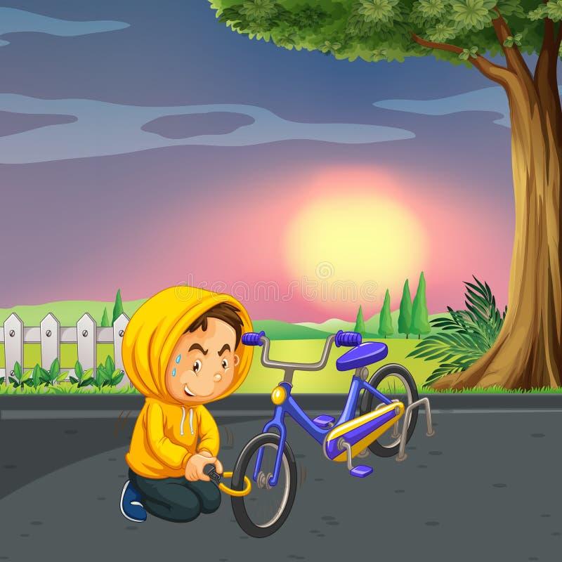 Homem que rouba a bicicleta no parque ilustração do vetor
