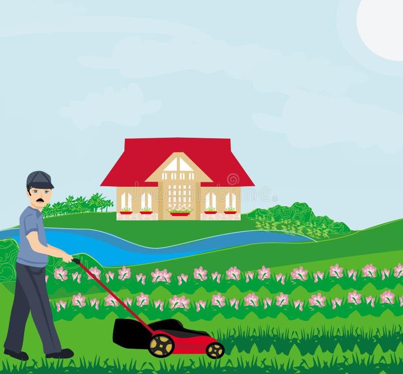 homem que sega o gramado ilustração stock