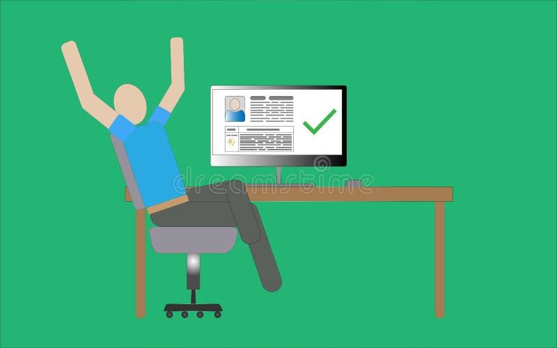 Homem que senta-se em uma cadeira no computador ilustração royalty free