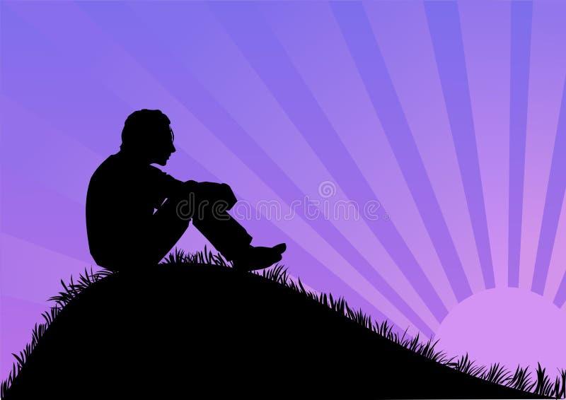 Homem que senta-se no monte ilustração royalty free