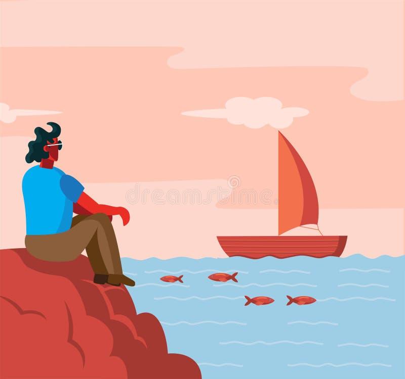 Homem que senta-se no navio de observação da parte traseira da costa de mar ilustração royalty free