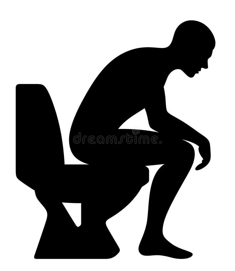 Homem que senta-se no toalete ilustração stock