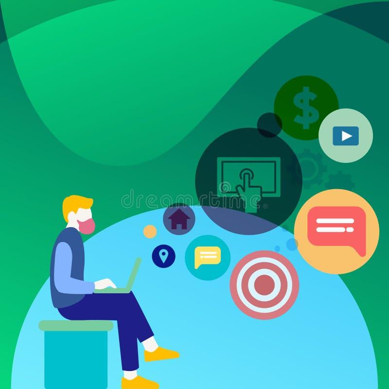Homem que senta-se para baixo com o portátil em seu regaço Ícones da otimização do Search Engine no espaço vazio Ideia criativa d ilustração stock