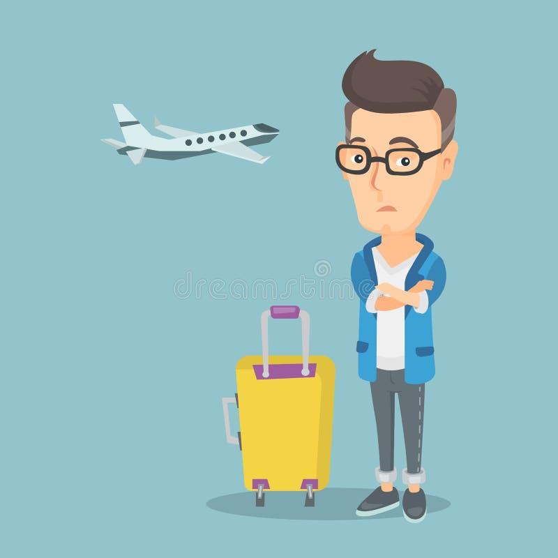 Homem que sofre do medo do voo ilustração do vetor