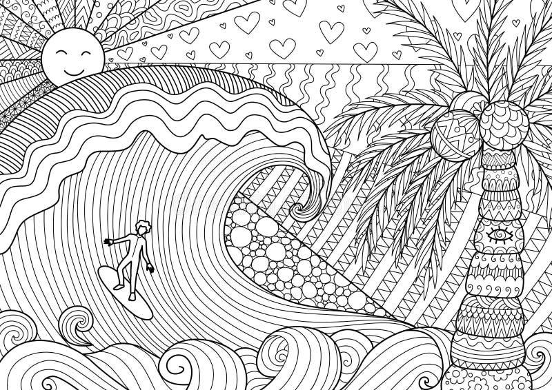 Homem que surfa no oceano bonito ilustração do vetor
