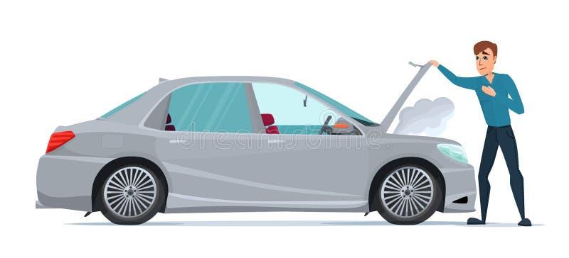 Homem que tem o problema do carro o carro divide Recuperação do veículo ilustração royalty free