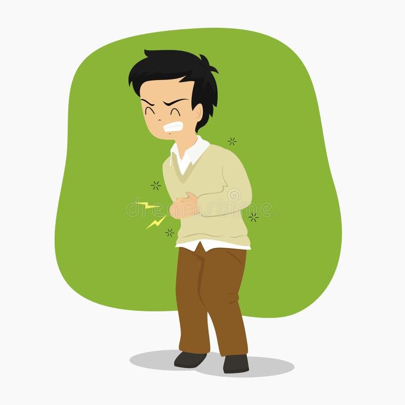 Homem que tem o vetor da dor de estômago ilustração do vetor