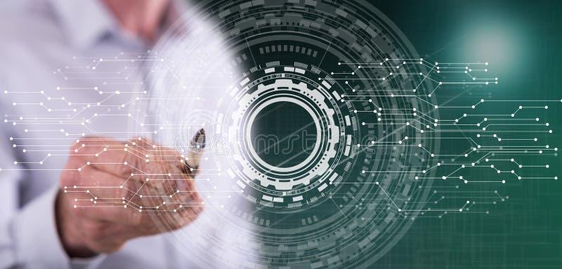 Homem que toca em um conceito virtual da tecnologia imagens de stock royalty free