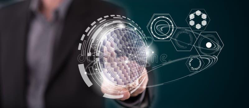 Homem que toca em um conceito virtual da tecnologia ilustração do vetor