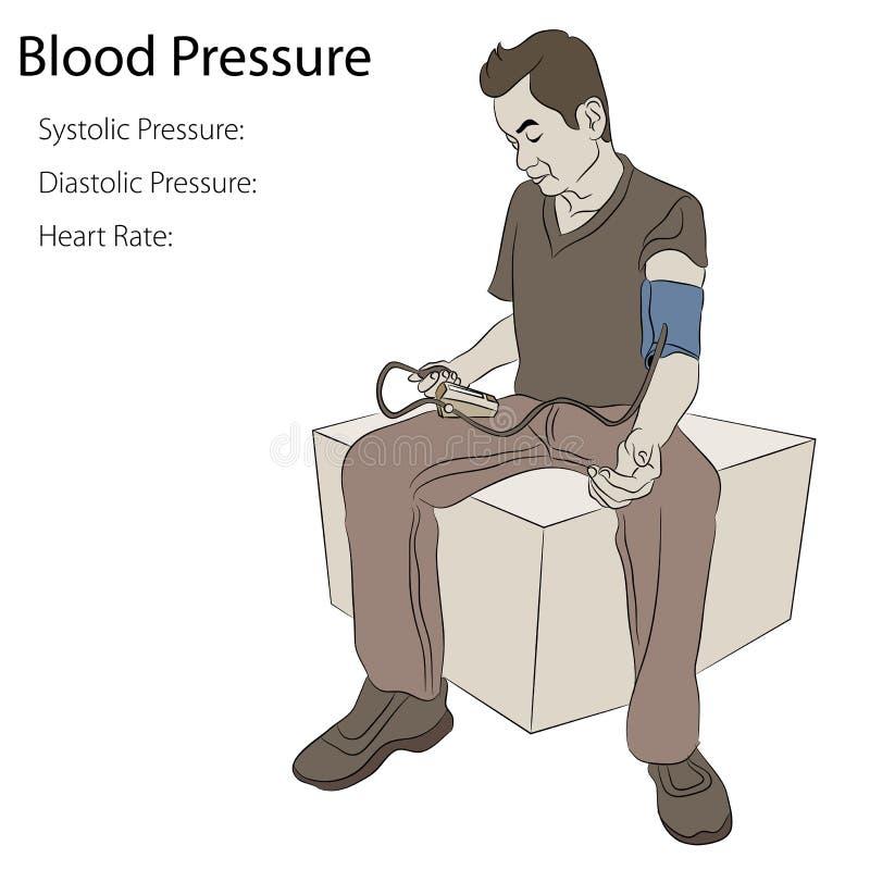 Homem que toma a pressão sanguínea ilustração royalty free