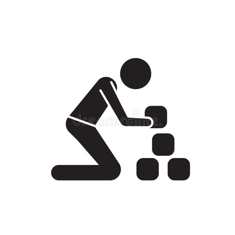 Homem que toma a tijolos o ícone preto do conceito do vetor Homem que toma a tijolos a ilustração lisa, sinal ilustração stock