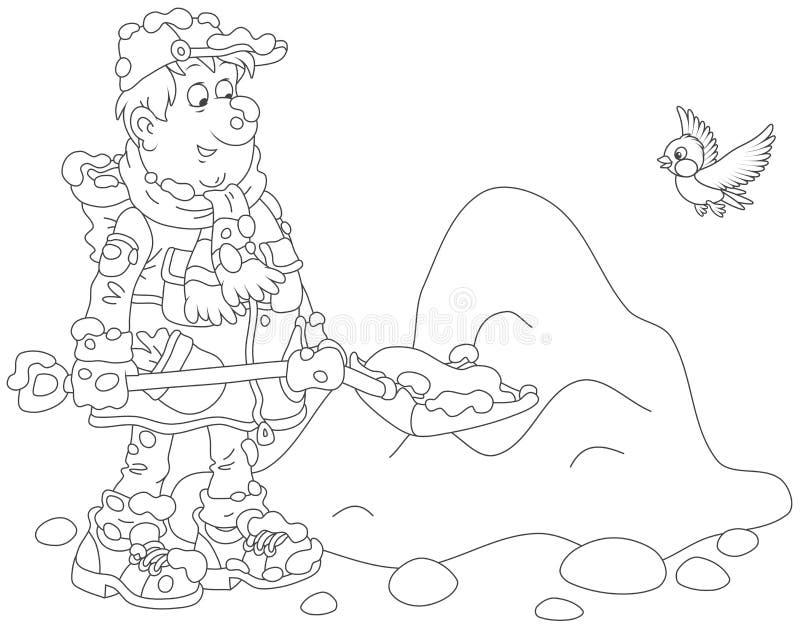 Homem que trabalha com pá a neve ilustração do vetor