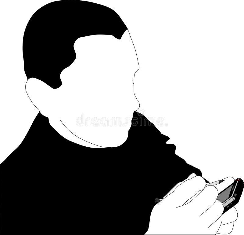 Homem que trabalha com PDA ilustração royalty free