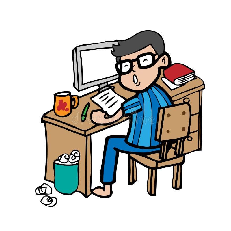 Homem que trabalha em casa ilustração stock