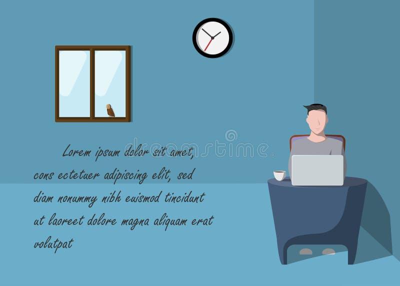 Homem que trabalha na ilustração simples do vetor do projeto dos desenhos animados da estreia do caráter da amostra do laptop do  ilustração royalty free