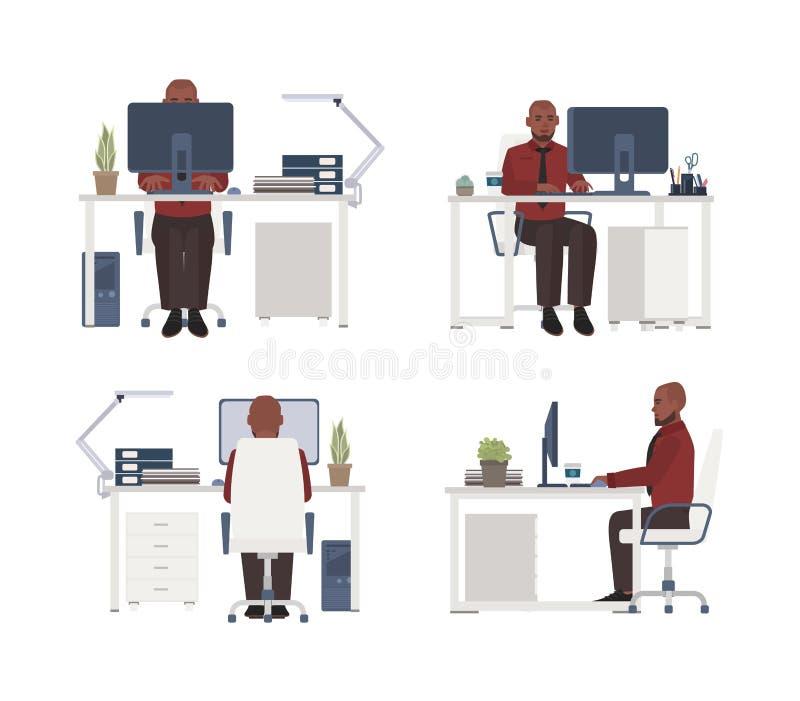 Homem que trabalha no computador no local de trabalho Trabalhador de escritório masculino que senta-se na cadeira na mesa Persona ilustração do vetor