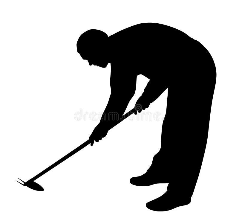 Homem que trabalha no jardim com enxada de remo??o de ervas daninhas ilustração royalty free